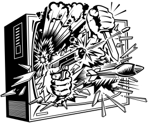 Television, violence, guns, knives, bombs bursting from screen   Layered
